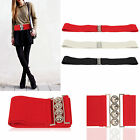 New Ladies Girls Waist Elasticated Buckle Belts 3 Colour 3 Size For Chose