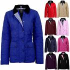 Women's Quilted Button Zip Up Padded Ladies Winter Coat Jacket Sizes 8-14