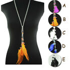 Double Pendant feather Necklaces charms long necklace crystal beads NL-1457