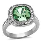Stainless Steel Halo Cushion Cut Emerald Green Crystal Engagement Ring Size 5-10