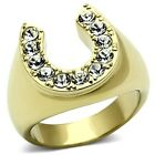 New Stainless Steel Gold IP Large Lucky Crystal Horseshoe Men's Ring  Sizes 8-13