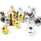 M3 - M20,  DOME NUTS, DOMES HEX  ACORN NUT ZINC, SOLID BRASS, A2 STAINLESS STEEL