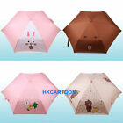 JAPAN TOMY LINE APP CHARACTERS CONY BROWN UV COATING 3 FOLD UMBRELLA W/ BAG