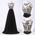 Homecoming Black Lace Applique Long Evening Cocktail Gown Wedding Prom Dresses