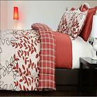 J.P.Stevens 6 Piece Full/Queen And King Comforter & Quilt Set Red Leaves