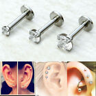 Clear CZ Gemstone Stainless Steel 16G Lip / Ear Tragus Triple Helix Stud Ring