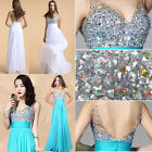 Stunning Beads Evening Bridal Wedding Formal Gowns Prom Party Long Pageant Dress