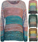 New Womens Striped Multi Long Sleeve Sweater Top Ladies Knitted Jumper 8 - 14