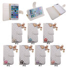 Cute Diamond Love PU Leather Wallet Stand Flip Card Slot Case Cover For iPhone 6
