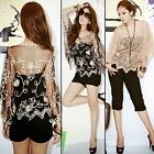 Vogue Sheer Mesh Butterfly Sleeve Embroidery Trim Women Cape Top Shirt Blouse