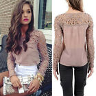 Vintage Lady Pin Up Long Sleeve SEXY Lace&Chiffon Business Tops Shirts Blouse ZT