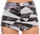 Hidden Fashion Womens Ladies Metallic Swirl Sequin Embellished Short Shorts