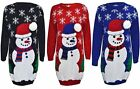 unisex snowman Christmas Xmas Knitted Jumper Ladies Size 8-14