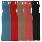 WOMENS/LADIES SLEEVELESS LONG MAXI JERSEY RACER BACK STRETCH BODYCON MAXI DRESS