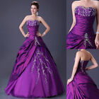 PURPLE New Satin Chiffon Bridal Gown Wedding Dresses Custom Size 6 8 10 12 14 16