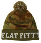 Flat Fitty Cuff Camo Pom Pom Winter Knitted Beanie Cap Hat, Olive Camo