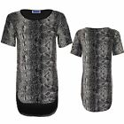 Women's High Low Short Sleeve Snake Print Ladies Lurex Oversized Top T-Shirt