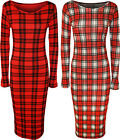 New Womens Tartan Check Print Long Sleeve Stretch Ladies Bodycon Dress 8 - 14