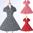 UK Retro Cotton Polka Dots 50's Housewife Swing Party Evening Dress 4 Style XS~L