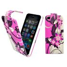 APPLE IPHONE 4/4S PINK AND CREAM FLOWER PRINTED DESIGN PU LEATHER FLIP CASE