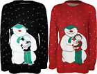 New Womens Snowman Puppy Snowflake Long Ladies Knitted Christmas Jumper Top 8-14