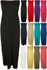 New Womens Plain Shirred Bandeau Strapless Ladies Ruched Long Maxi Dress 8 - 14