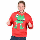 Adults Unisex Novelty Red Christmas Xmas Sweatshirt Jumper - Green Elf Suit