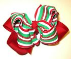 Christmas Holiday Candy Cane Hair Bow Red Green Striped Boutique Hairbow Big Lg
