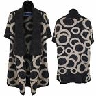 Women's Oversized Knitted Bat Wing Circle Print Ladies Wrap Jumper Cardigan