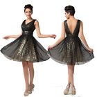 ❤SHINY SEQUINS❤ Sexy Evening Party Prom Bridesmaid Wedding Gown Club Short Dress