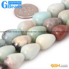 Natural Multi-Color Amazonite Teardrop Beads For Jewelry Making Fre Shipping 15""