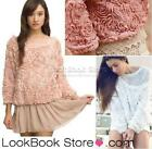 3D Mesh Lace Rose Floral Long Sleeve Jumper Top Sweater