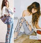 Vintage Detailed Woman Side Bow Cutout Ripped Denim Sexy Jeans Jeggings Trousers