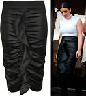 New Womens Celeb Wet Look PVC Frill Ruched Ladies Bodycon Pencil Midi Skirt 8-14