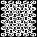 50 States Euro Oval Decal Sticker - CHOOSE YOUR STATE AND COLOR
