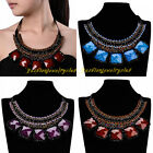 New Vintage Multicolor Resin Square Shiny Crystal Statement Collar Bib Necklace