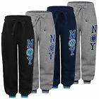 KIDS JOGGING TRACKSUIT BOTTOMS GIRLS BOYS NY PRINT FLEECE SWEATPANTS SIZE 3-16 Y