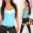 New Sexy Belted 2 in 1 Top for Women Size 6 8 10 Hot Glamour Wrap Shirt Blouse