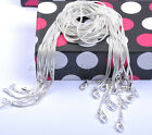 "12pcs FREE SHIP 16"" 18"" 20"" Solid Silver Plated Snake Chains Necklace 1MM"