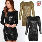 LADIES WOMENS LONG SLEEVE SEQUIN GLITTER MINI BODYCON DRESS PARTY LOW BACK SIZE