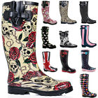 NEW WOMENS WELLIES FLAT WELLINGTONS KNEE HIGH RAIN SNOW WATERPROOF BOOTS SZ 3-8