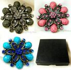 """Veined Faceted & Crystal Bronze Flower Pin Brooch ~ Gift Box  6cm 2.5"""""""