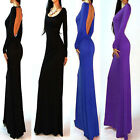 Women Solid Color Backless Long Sleeve Stretch Party Cocktail Maxi Long Dress