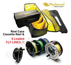 Fly Fishing Wychwood Case + MLA Disc-Drag Fly Reel & 5 Loaded Fly Lines RRP£129!