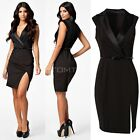 Fashion Women Lady Deep V Tailored Collar OL Work Office Dress with Belt TTDT