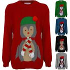 Ladies Christmas XMAS Festive 3D Scarf Hat Women's Knitted Penguin Jumper