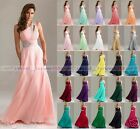 New Hot Long One shoulder Chiffon Evening  Ball Gown Bridesmaid Dress Size 6-18