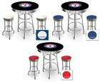 FC516 MLB THEMED BLACK AND CHROME BAR TABLE SET FOR MAN CAVE, PUB OR GAME ROOM