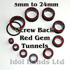 5mm to 24mm Red Crystal Surround Gem Screw Back Tunnels / Plugs