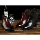 Black Coffee REAL Leather Pull On Ankle Boots Pointy Toe Dress Mens Chukka Shoes